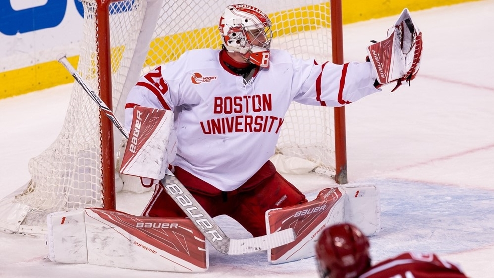 Boston University's Jake Oettinger is second in the nation with a 1.80 goals-against average. (Photo courtesy BU Athletics)