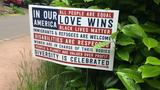 Signs in Eugene spread messages of unity