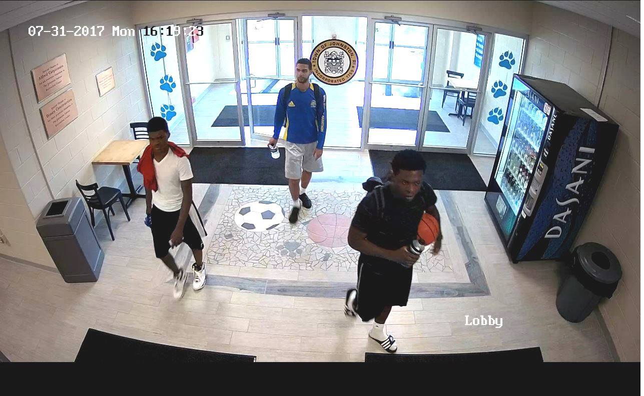 The Johnston Police Department is asking the public to help them identify four men who are wanted for questioning in the theft of a town-owned SUV. (Police photo)