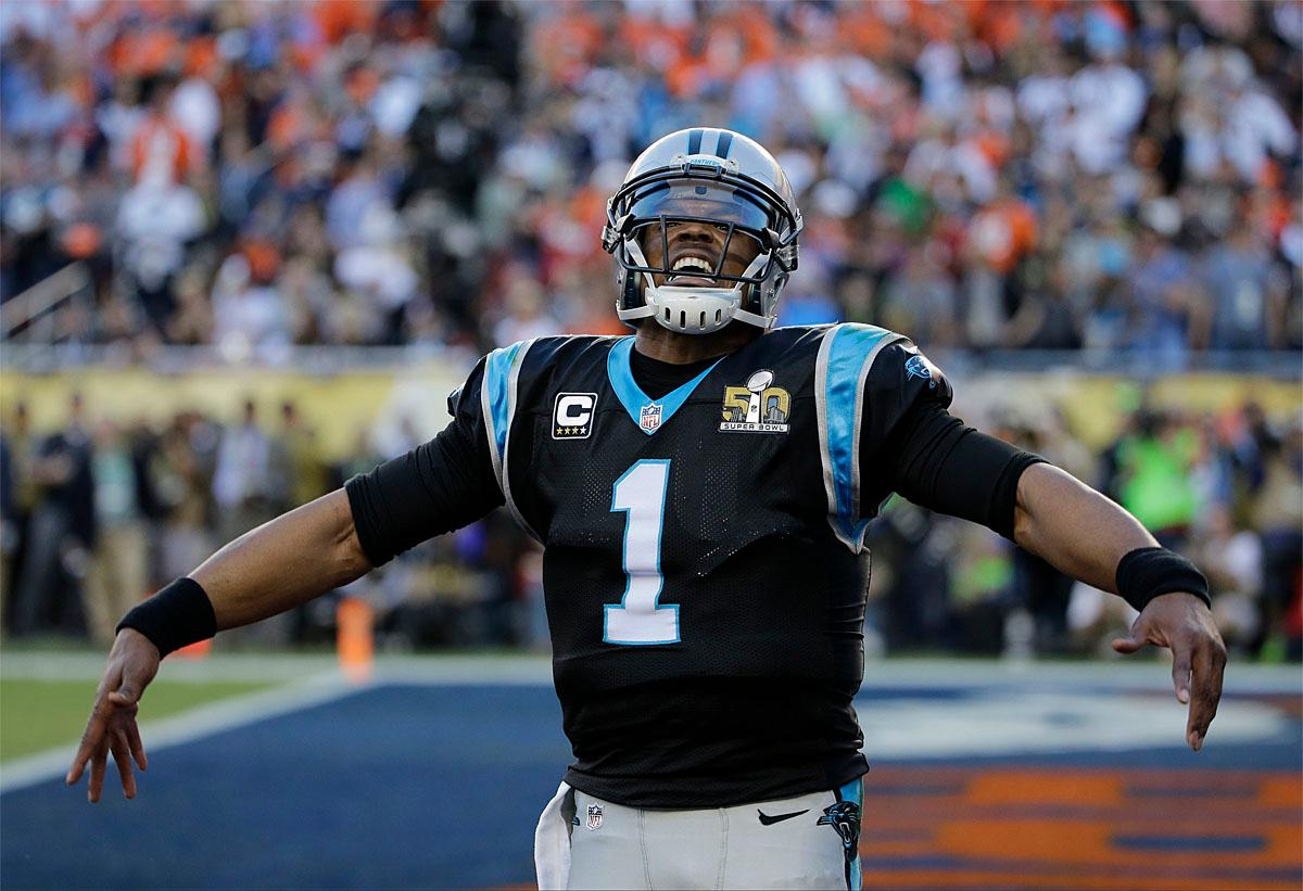Carolina Panthers' Cam Newton (1) celebrates a touchdown during the first half of the NFL Super Bowl 50 football game Sunday, Feb. 7, 2016, in Santa Clara, Calif. (AP Photo/David J. Phillip)