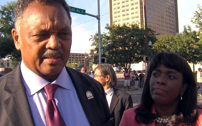 Rev. Jesse Jackson speaks to ABC 33/40 after a program commemorating the 50th anniversary of the 1963 bombing at 16th Street Baptist Church.