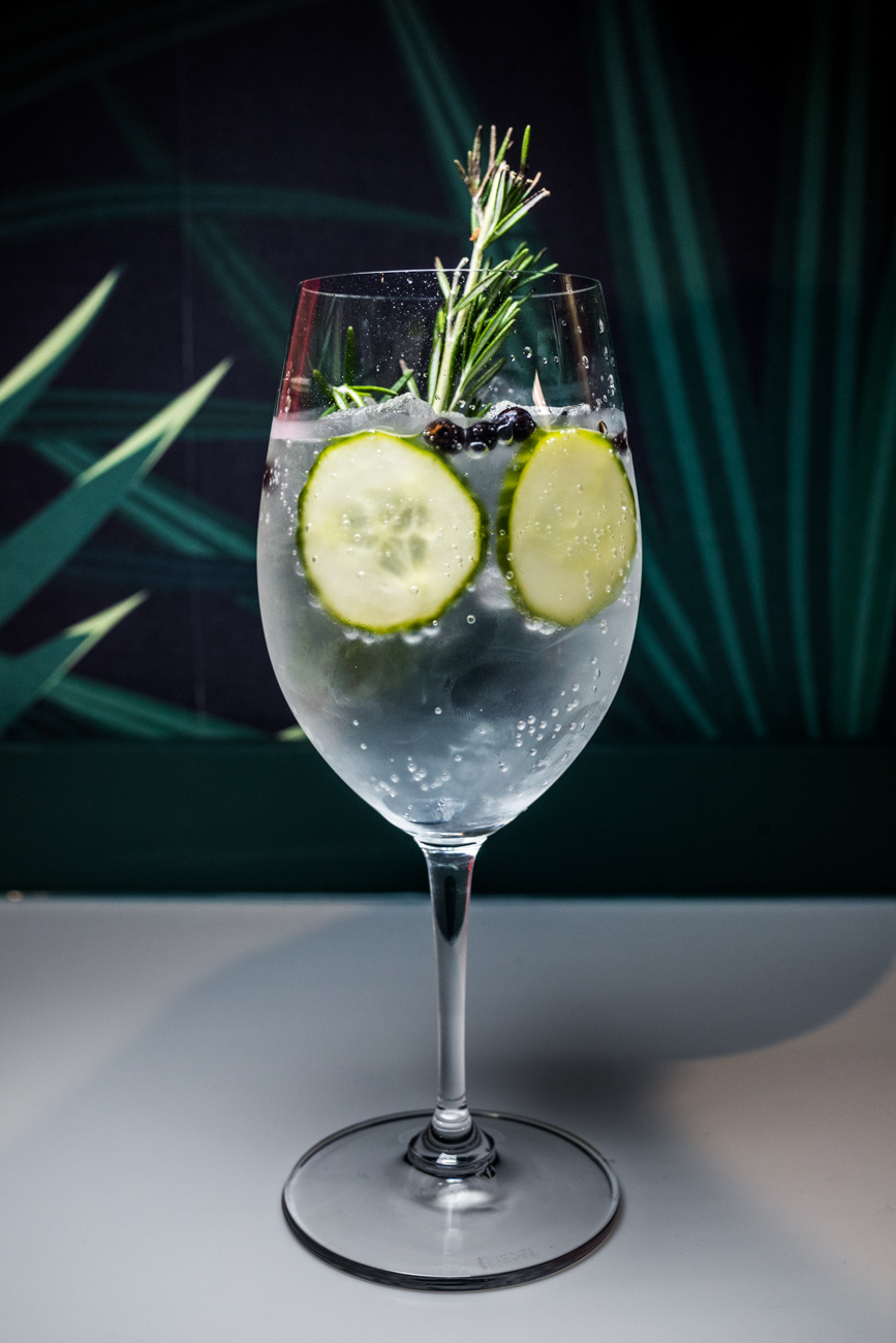G&T: Beefeater London Dry Gin, tonic water, cucumber wheels, and dehydrated juniper / Image: Catherine Viox{ }// Published: 10.31.20