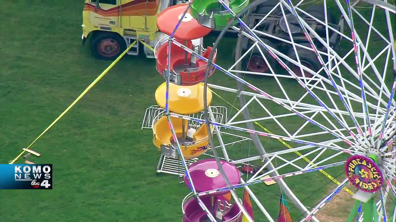Air 4 flies over a Ferris wheel in Port Townsend.  Three people were injured.Thumbnail