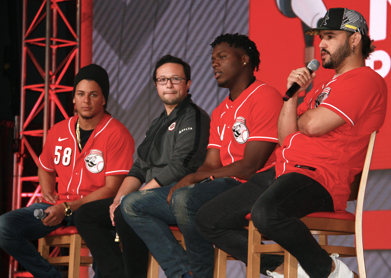 Luis Castillo (pitcher),{ }Jorge Merlos (Reds Youth Academy Outreach Coordinator),{ }Aristides Aquino (right fielder), and Eugenio Suarez (third baseman) / Image: Richard Sanders // Published: 12.8.19