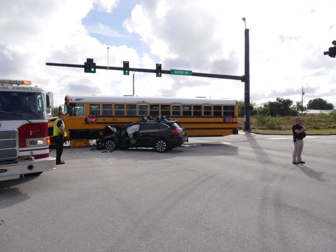 A school bus and an SUV collided in Port St. Lucie. (PSL Police)<p></p>