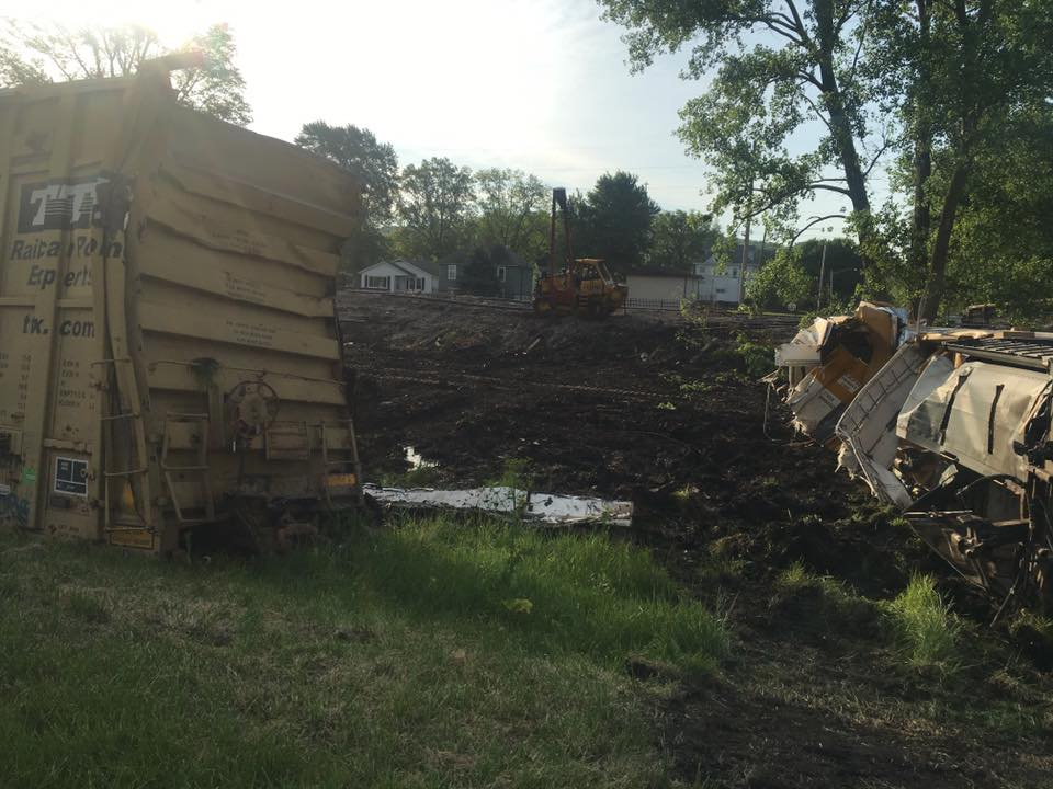 Public safety representatives are on the scene of a train derailment in Logan County. (Courtesy: Akilah Davis)