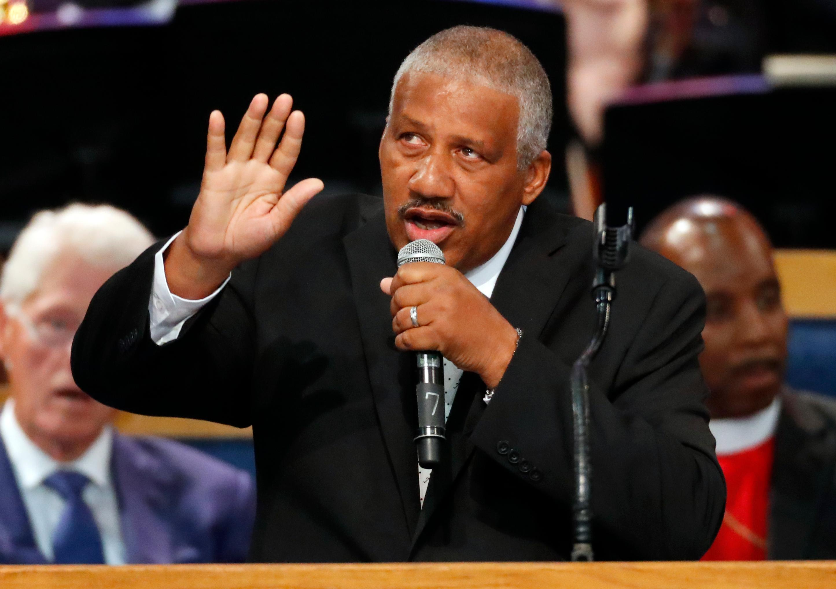 Edward Franklin, son of Aretha Franklin, performs during the funeral service for his mother at Greater Grace Temple, Friday, Aug. 31, 2018, in Detroit. (AP Photo/Paul Sancya)