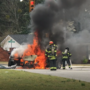 Car catches fire after accident on St. Andrews Road