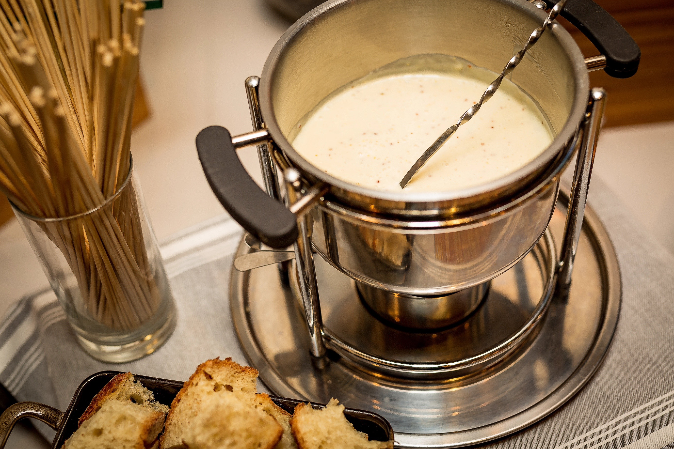 Believe it or not, Equinox Restaurant has even figured out how to make a plant-based fondue for its vegan brunch held each Sunday. The latest iteration is a Riesling and Dijon fondue made with sautéed shallots, wine, whole-grain mustard, puréed artichokes, roasted red peppers and melted cashew cheese. It's thoughtfully served with gluten-free sourdough croutons, making it even more friendly for those with dietary restrictions. (Image: Courtesy Equinox Restaurant){ }