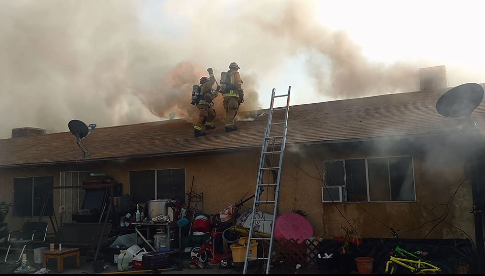 A photo from the Bakersfield Fire Department shows a fire Friday, Feb. 2, 2018, at some apartments off South K Street in Bakersfield, Calif.