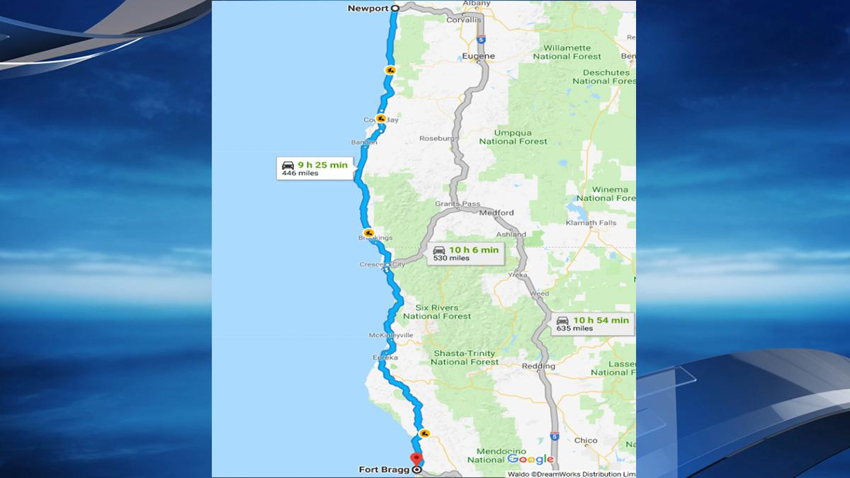 Photo of the route taken by the Hart family - Image from California Highway Patrol