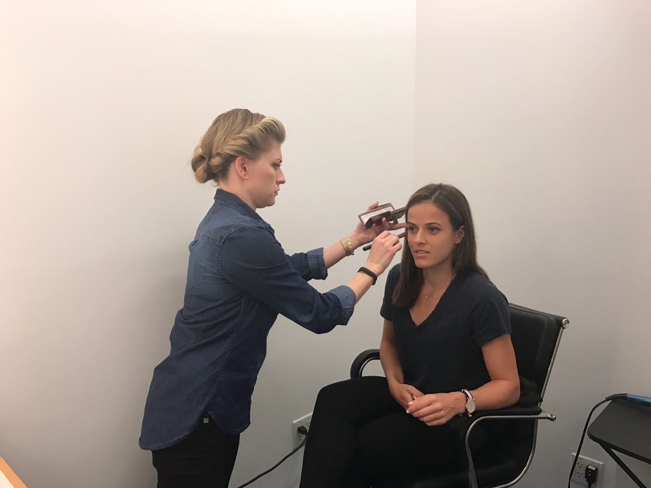 Nicole Gibbs sits in hair and makeup before going on Tennis Channel Live to discuss My Tennis Life.