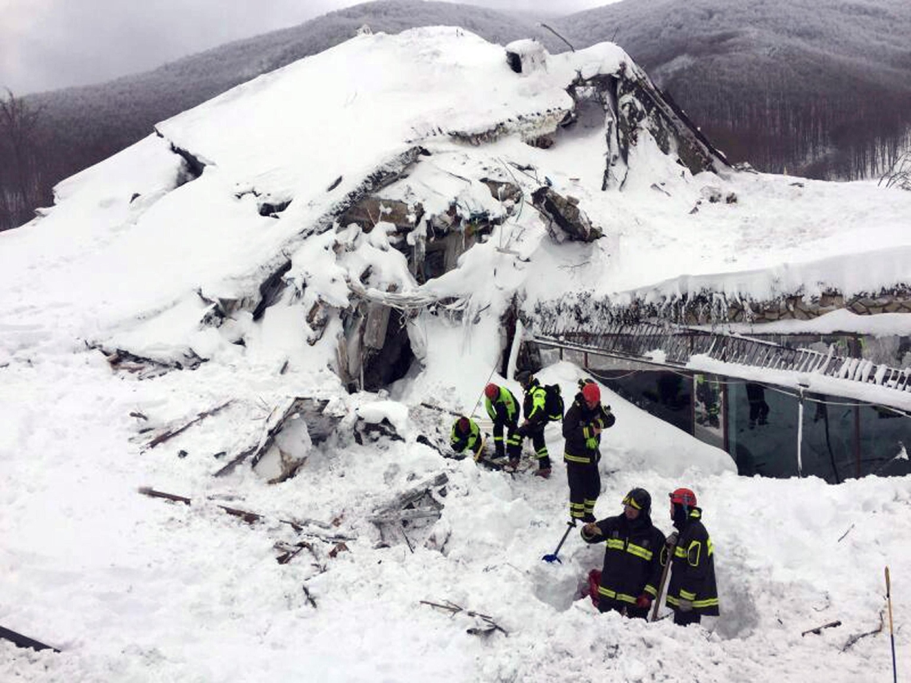 Rigopiano hotel avalanche first funerals as search goes on bbc news - Italian Firefighters Search For Survivors After An Avalanche Buried A Hotel Near Farindola Central Italy