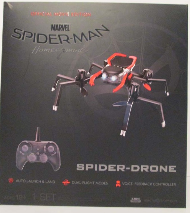 "W.A.T.C.H. OUT! This ""official movie edition"" remote-control drone, based on the well-known Spiderman Superhero franchise, is sold for use by children. The ""performance drone"", designed to launch into the air powered by multiple rotating rotor blades is accompanied by numerous warnings, including the potential for ""damage or injury."" (Photo and caption provided by WATCH)<p></p>"