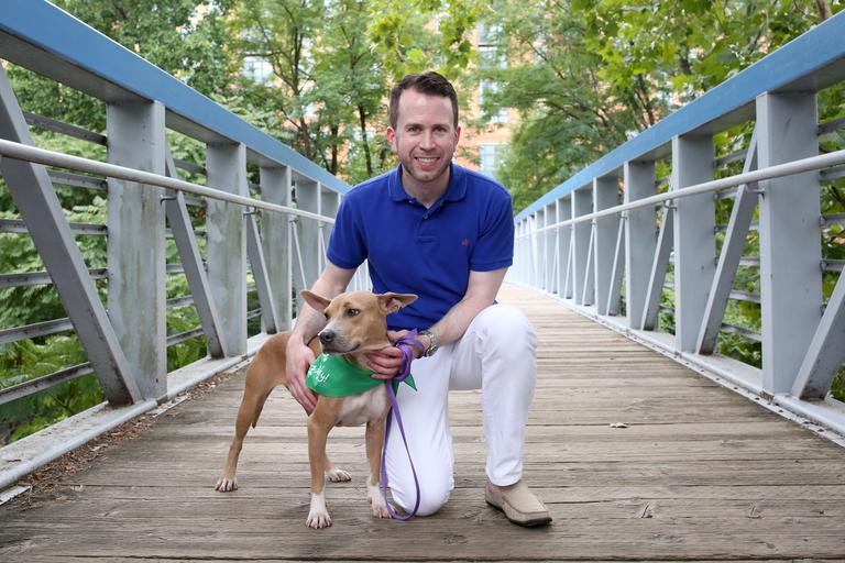 Andrew is a 35-year-old consultant living in Falls Church. He enjoys cooking, whisky tasting, and rooting for the Nats! // Polpetta is a 8-month-old terrier mix who is looking for her forever home. She is available for adoption through Lucky Dog Animal Rescue. (Amanda Andrade-Rhoades/DC Refined)