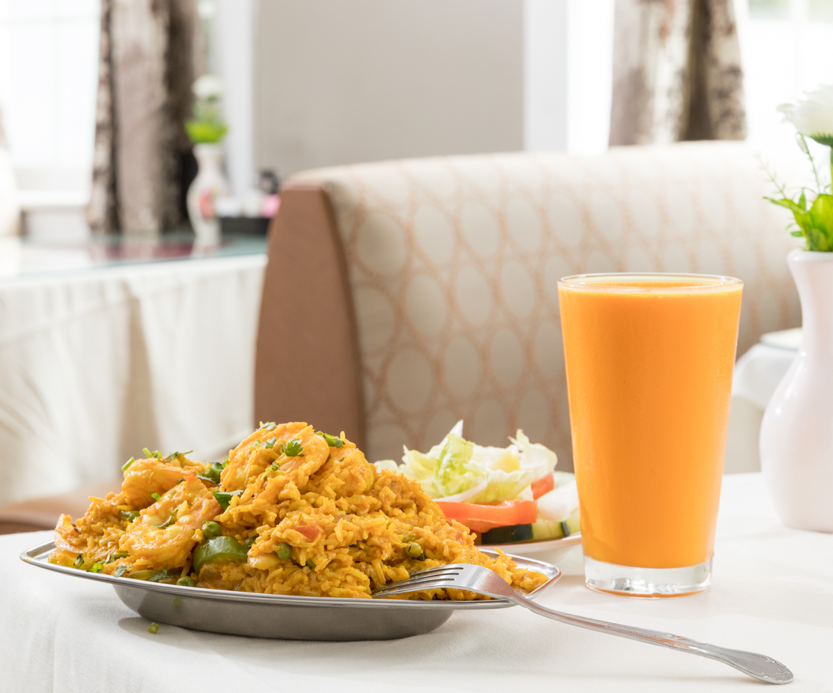Shrimp briyani, mango lassi, and salad / Image: Marlene Rounds // Published: 10.25.18