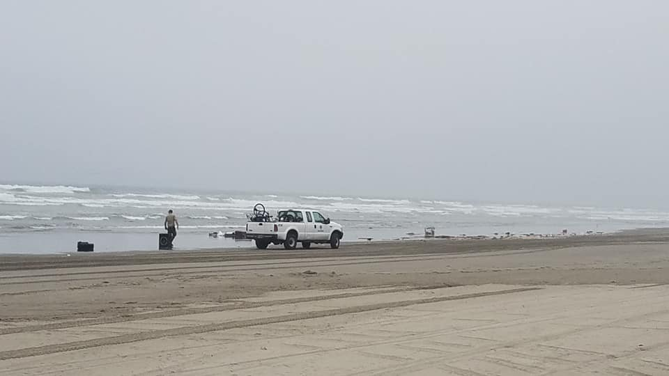 A van and trailer submerged in the surf on the Oregon coast on Aug. 22, 2018. Photo courtesy Jay Pitman