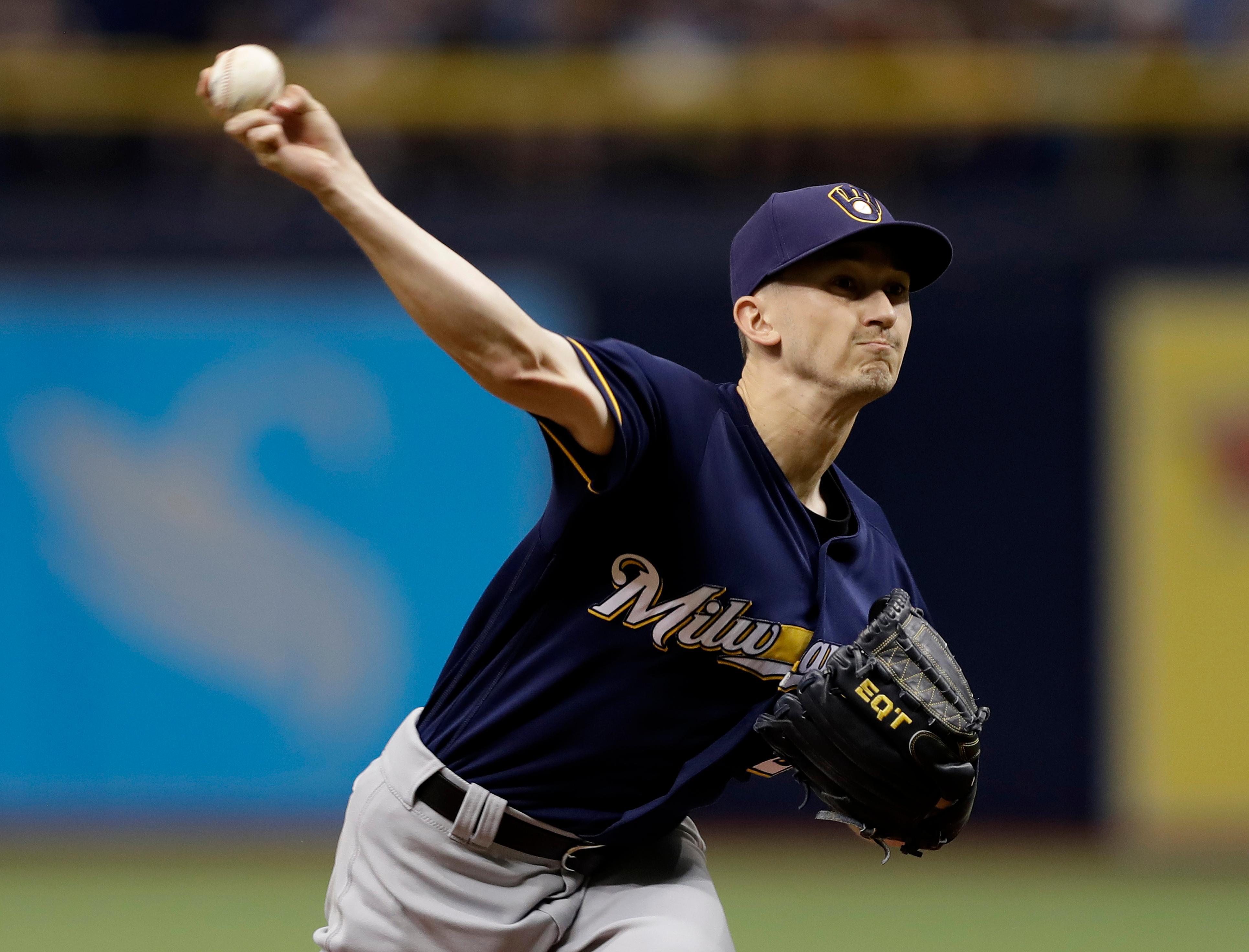 Milwaukee Brewers' Zach Davies pitches to the Tampa Bay Rays during the first inning Saturday, Aug. 5, 2017, in St. Petersburg, Fla. (AP Photo/Chris O'Meara)