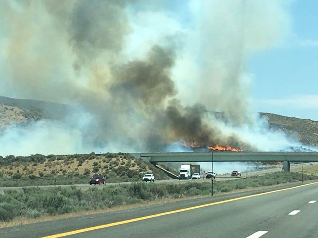 Brush fire along Hwy. 395 near Cold Springs prompts evacuations (Photo courtesy: Greg Canfield)
