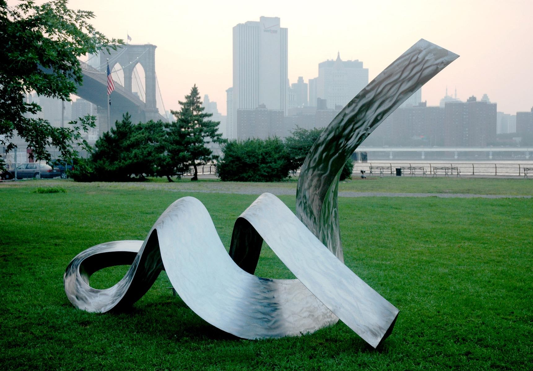 "<p>Reclining Nude Stainless steel 216"" W x 120""H x  84"" D 2005 (Image courtesy of Micajah Bienvenu).</p>"