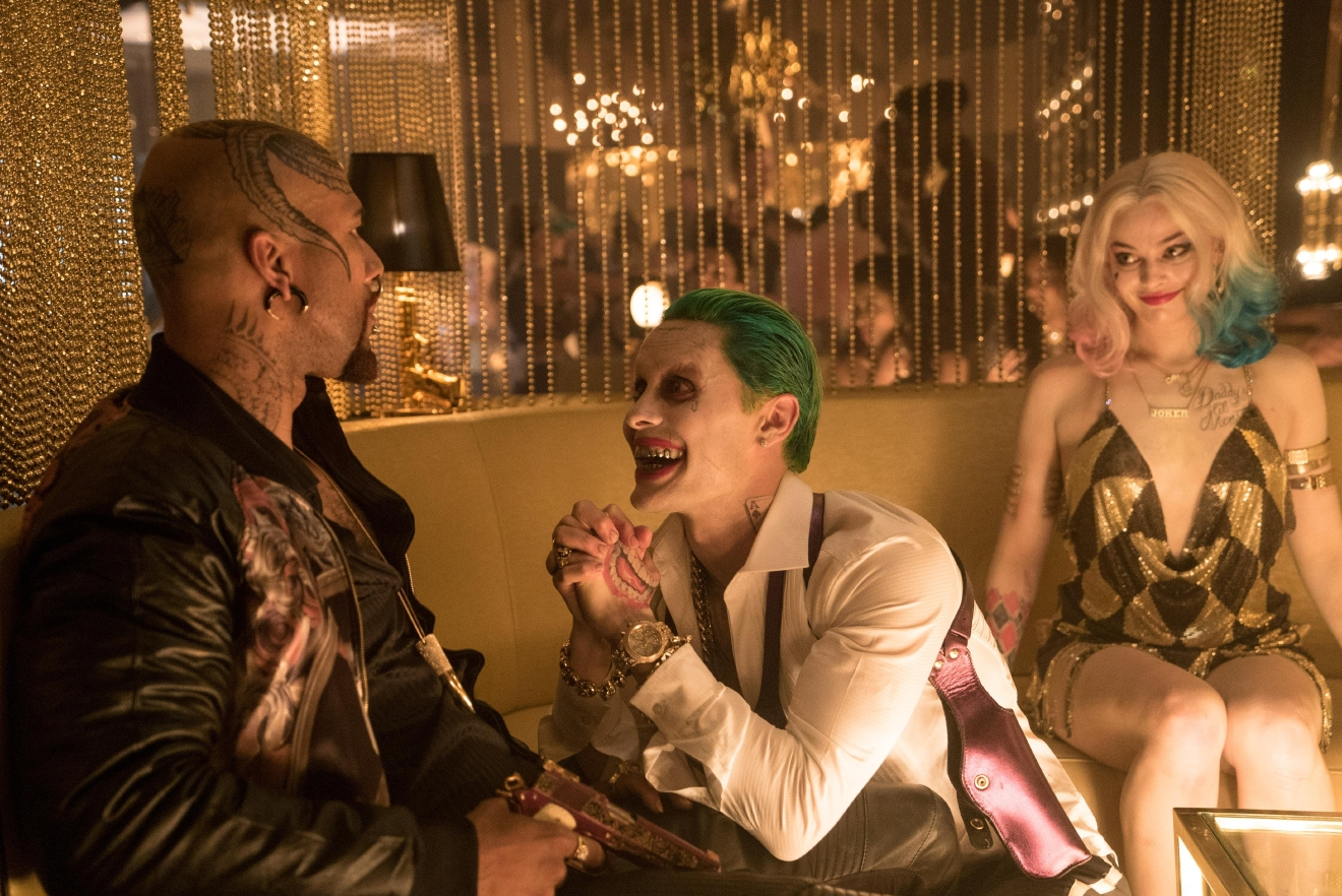"(L-r) COMMON as Monster T, JARED LETO as The Joker and MARGOT ROBBIE as Harley Quinn in Warner Bros. Pictures' action adventure ""SUICIDE SQUAD,"" a Warner Bros. Pictures release."