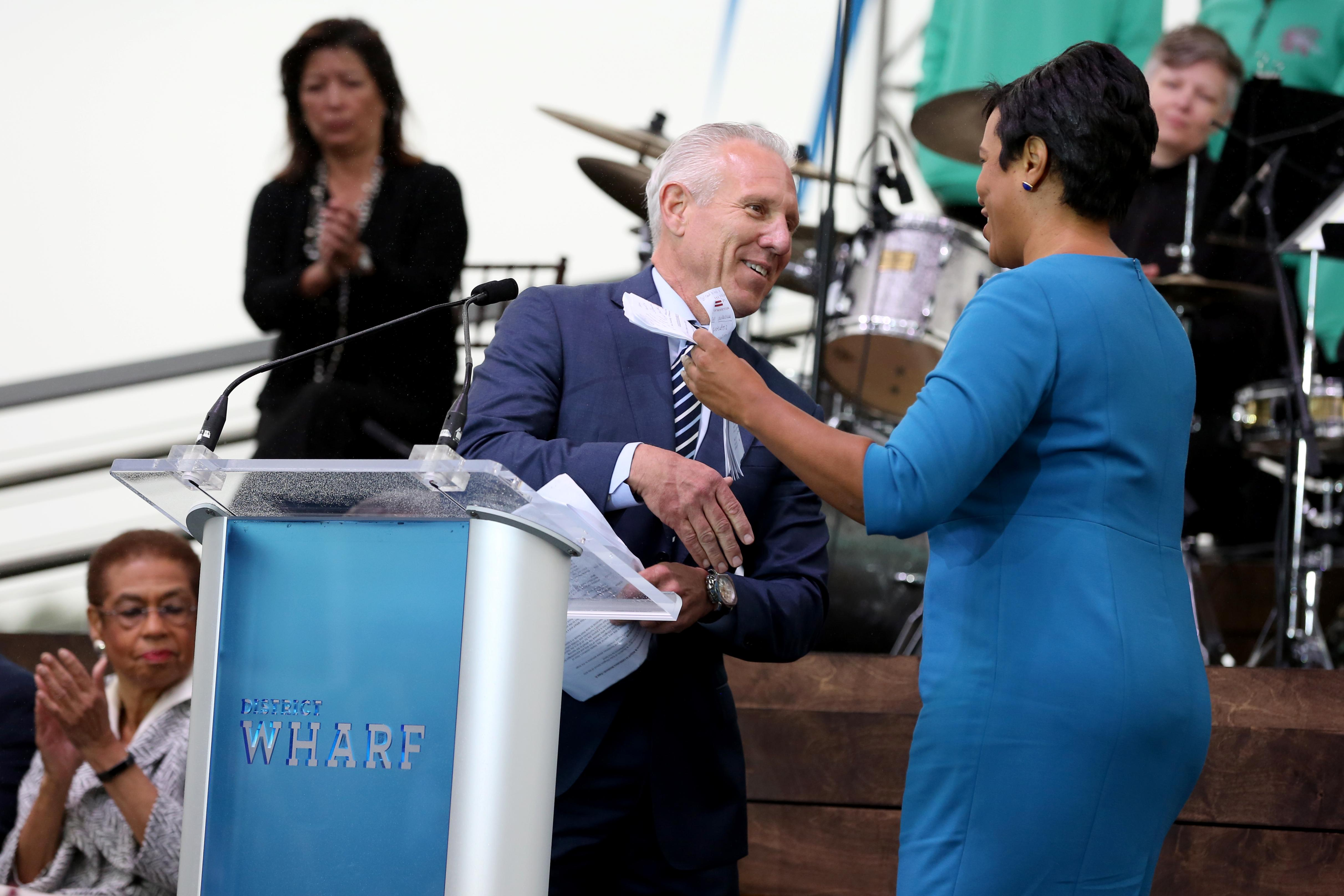 Developer Monty Hoffman and Mayor Muriel Bowser (Amanda Andrade-Rhoades/DC Refined)