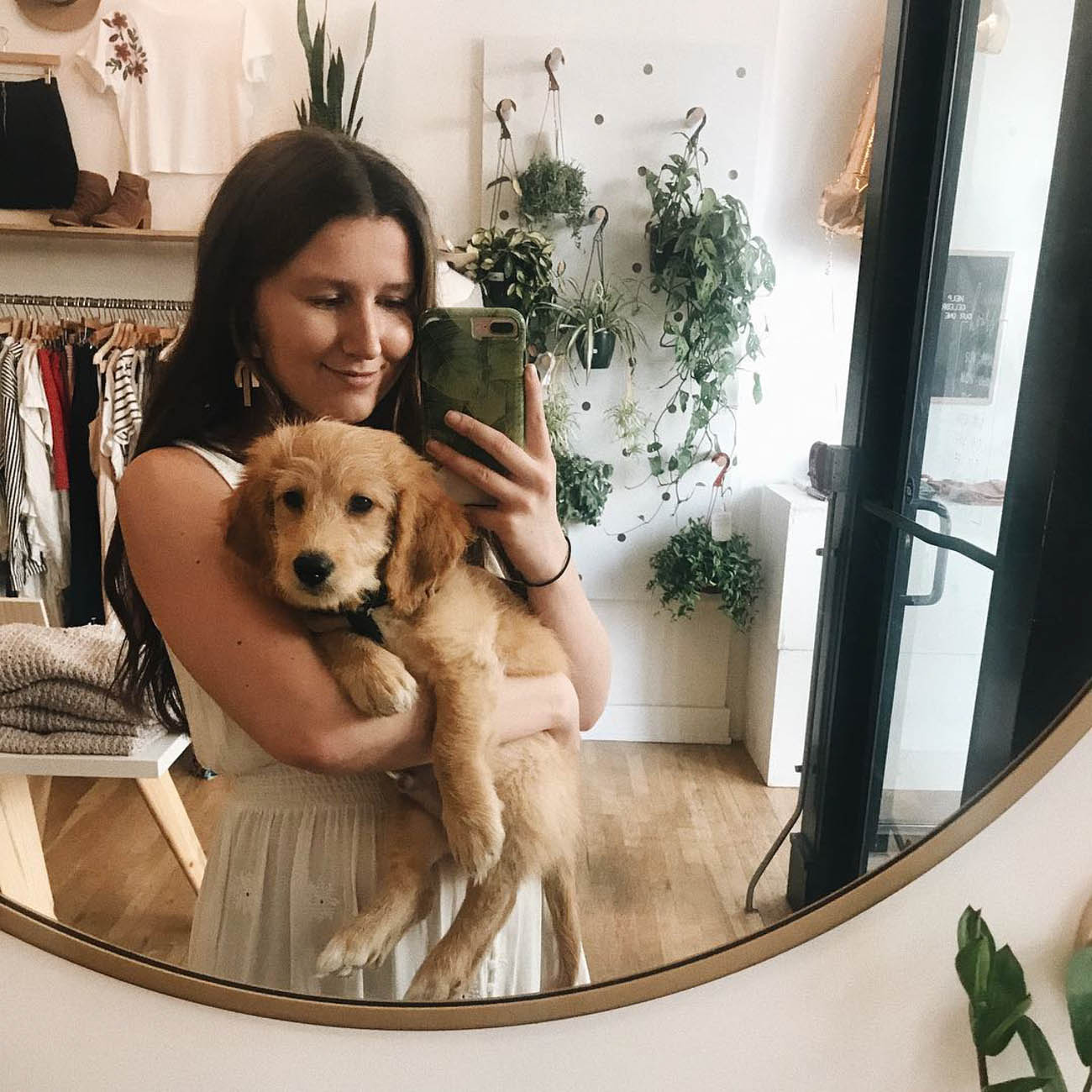 Milo is a mini Goldendoodle who likes to greet customers at his mom's—Anna Steffen's—OTR boutique, The Native One. / Image courtesy of Instagram user @littlenuggetmilo // Published: 11.28.18