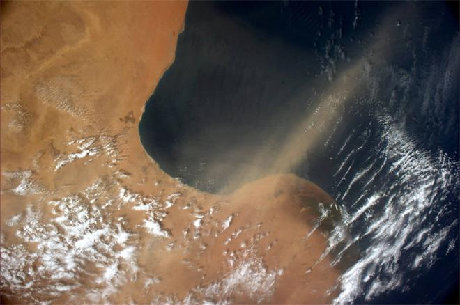 Dust being blown from North Africa into the Mediterranean Sea (Photo & Caption: Rick Mastracchio, NASA)