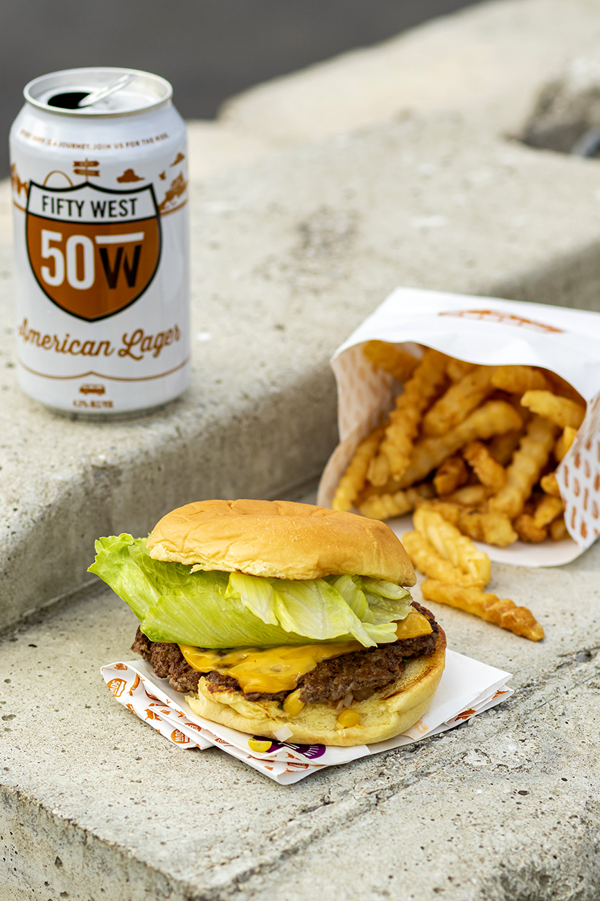 <p>Indiana Burger: corn salad, American cheese, and lettuce / Image: Allison McAdams // Published: 5.25.20</p>