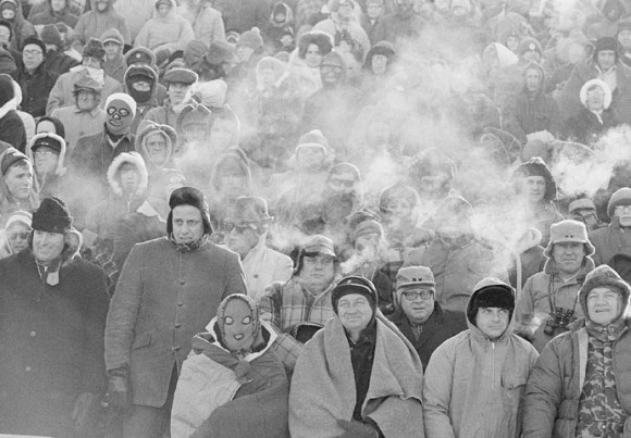 Fans watch the Green Bay Packers play the Dallas Cowboys during the NFL Championship Game, Dec. 31, 1967, at Lambeau Field. (AP Photo/File)