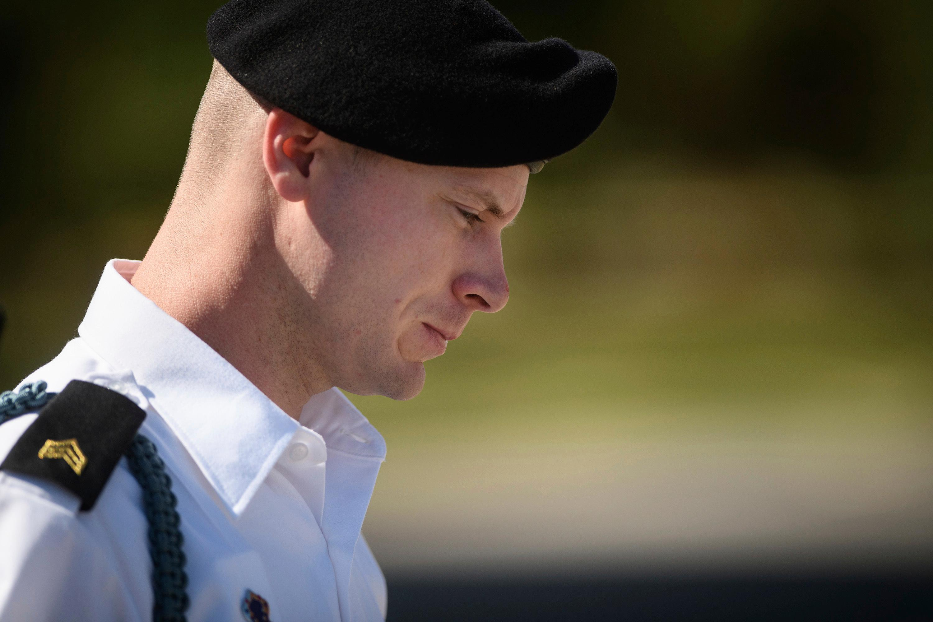 FILE- In this Sept. 27, 2017, file photo, Army Sgt. Bowe Bergdahl leaves a motions hearing during a lunch break in Fort Bragg, N.C. (Andrew Craft/The Fayetteville Observer via AP, File)