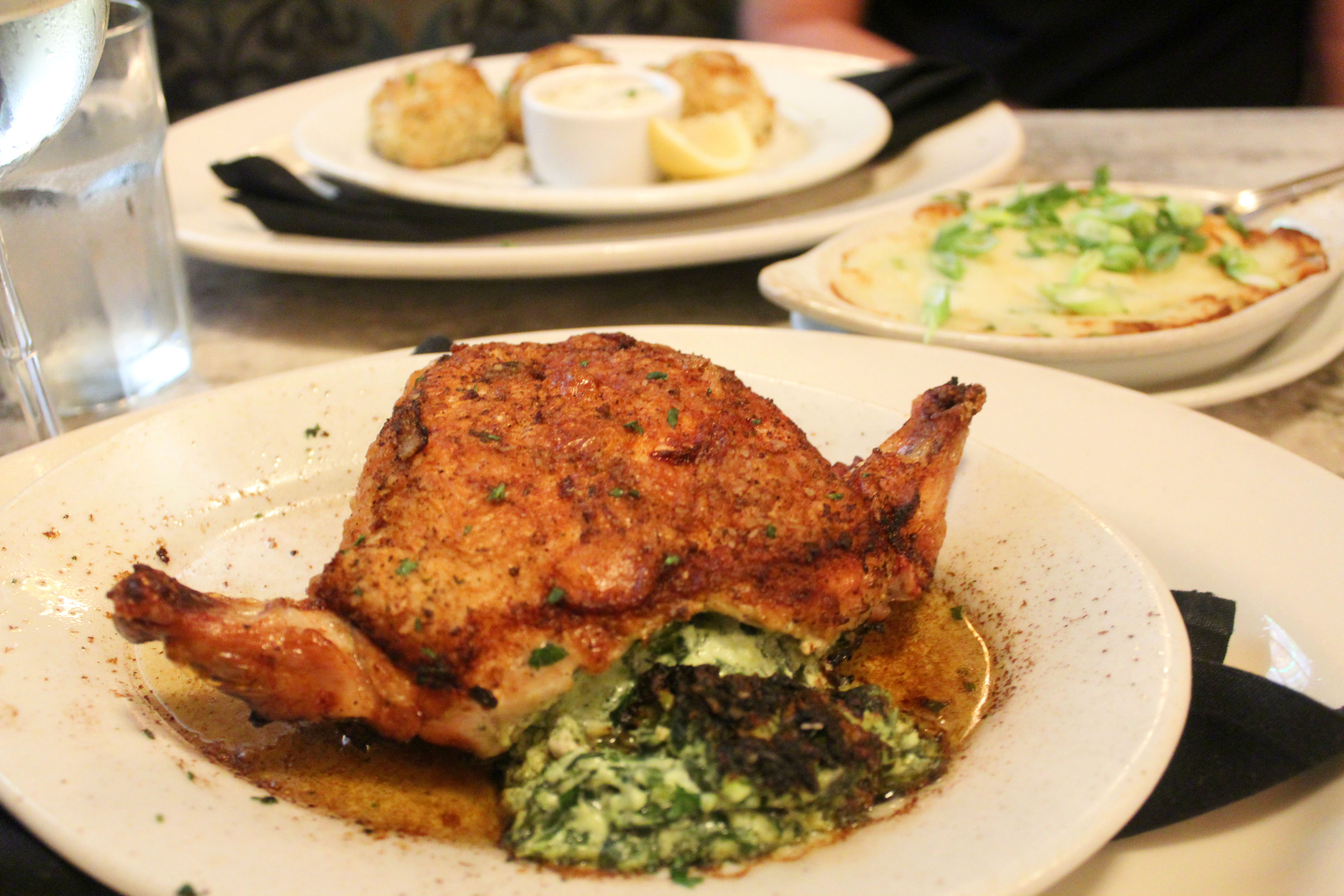Marsha Brown's oven-roasted chicken stuffed with cheese and spinach, served with a side of baked potato souffle.{&nbsp;}(Image: Julie Gallagher)<p></p>