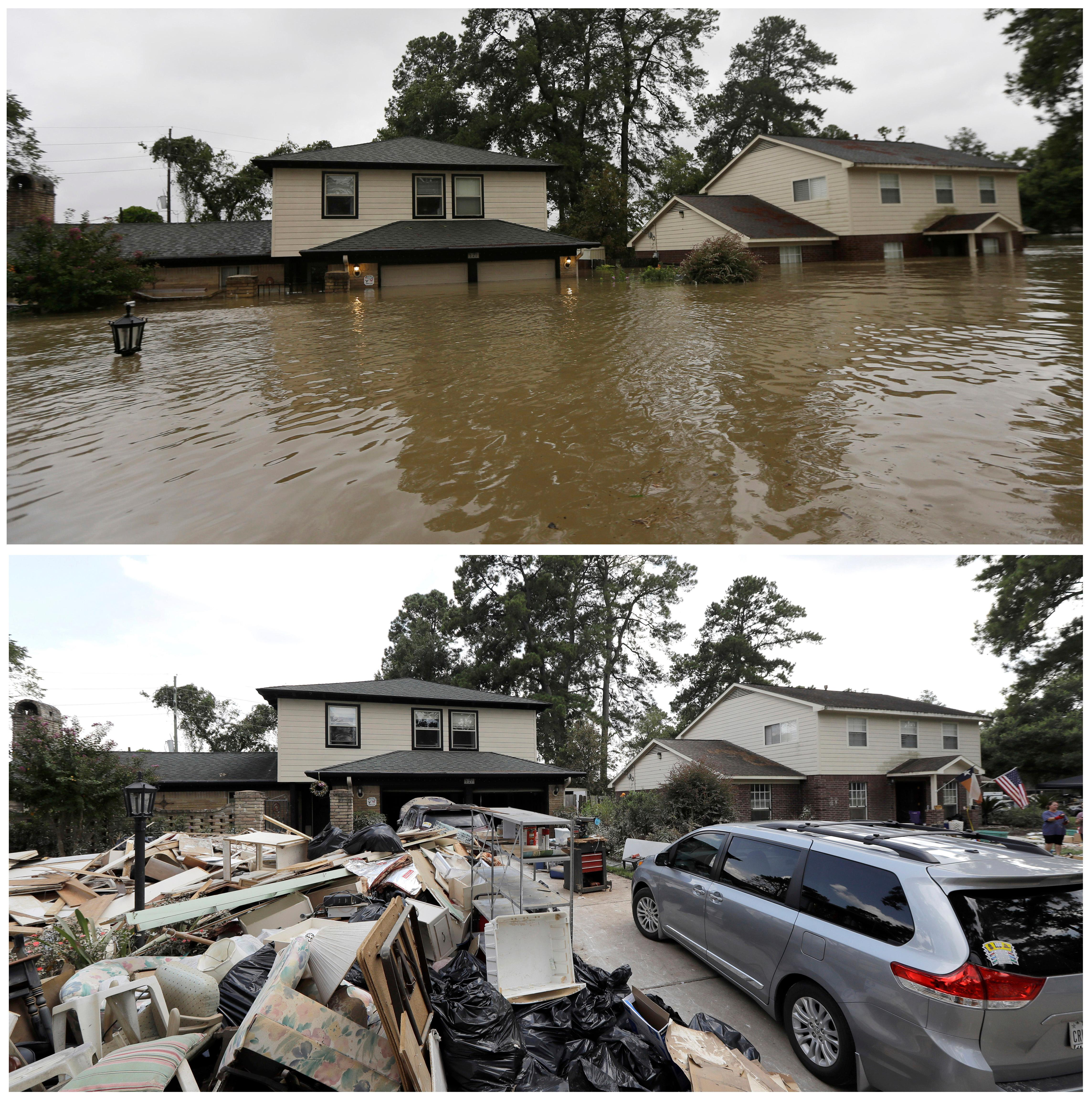 FILE - In this photo combination, floodwaters from Tropical Storm Harvey, top, surround homes in Spring, Texas, on Aug. 28, 2017, and damaged goods surround the same homes on Sept. 5, bottom, after the water receded. (AP Photo/David J. Phillip, File)