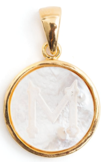 Tuckernuck, Mother of pearl initial charm necklace, $175 (BrandlinkDC)
