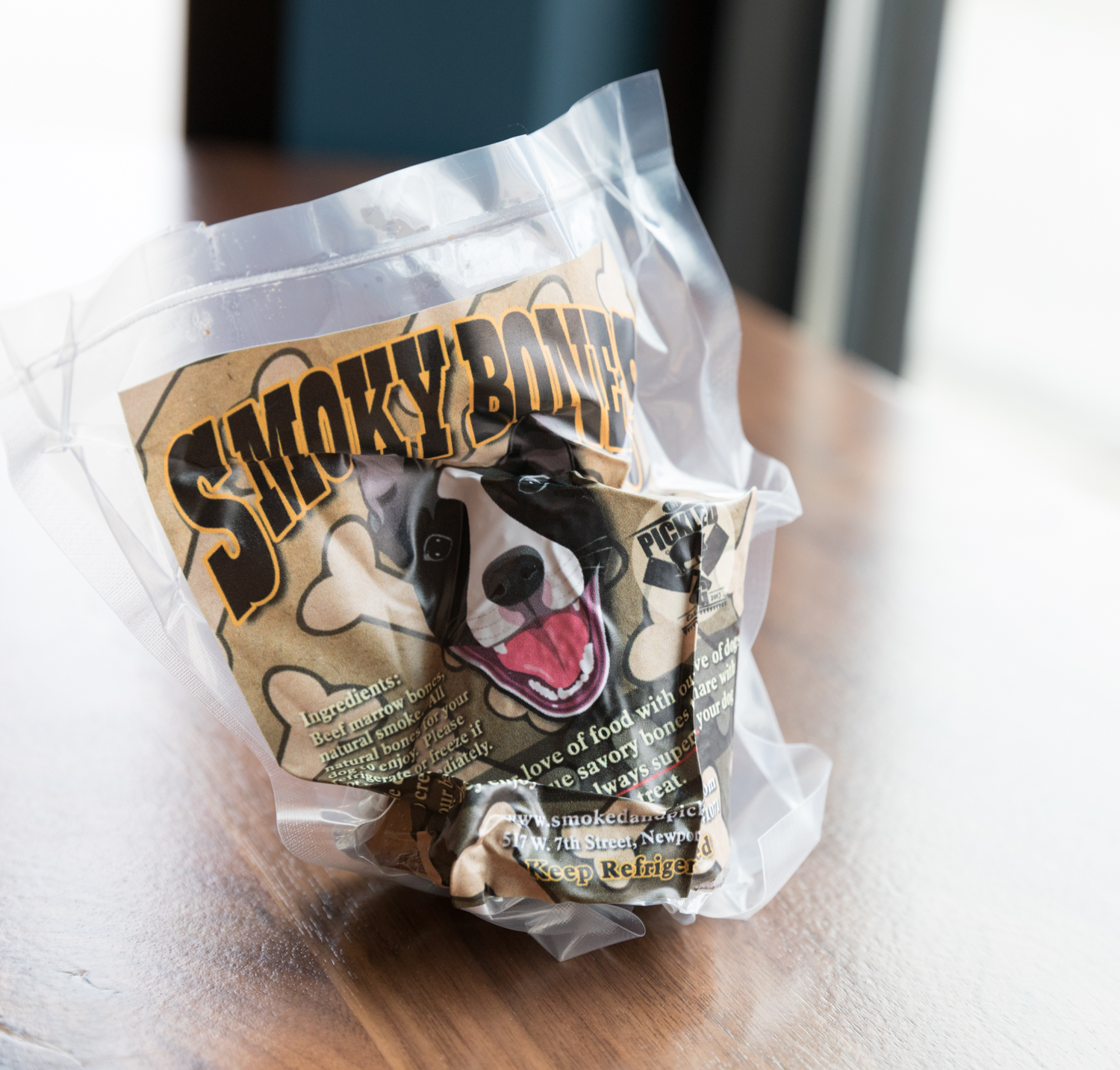 First product Gary made was the Smoky Bones dog treats.{ }They are made from natural beef femur bones that have been slow smoked with meaty bits and bone marrow for your dog to enjoy.  / Image: Marlene Rounds // Published: 3.12.19