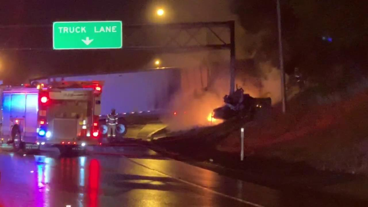 ODOT says the I-5 northbound lanes near Barbur Boulevard will likely remain closed during the morning commute on Aug. 22, 2019 following a deadly crash the night before. This video shows the scene of a semi-truck on fire on Aug. 21, 2019. Courtesy Joseph Faltyn{ }Thumbnail