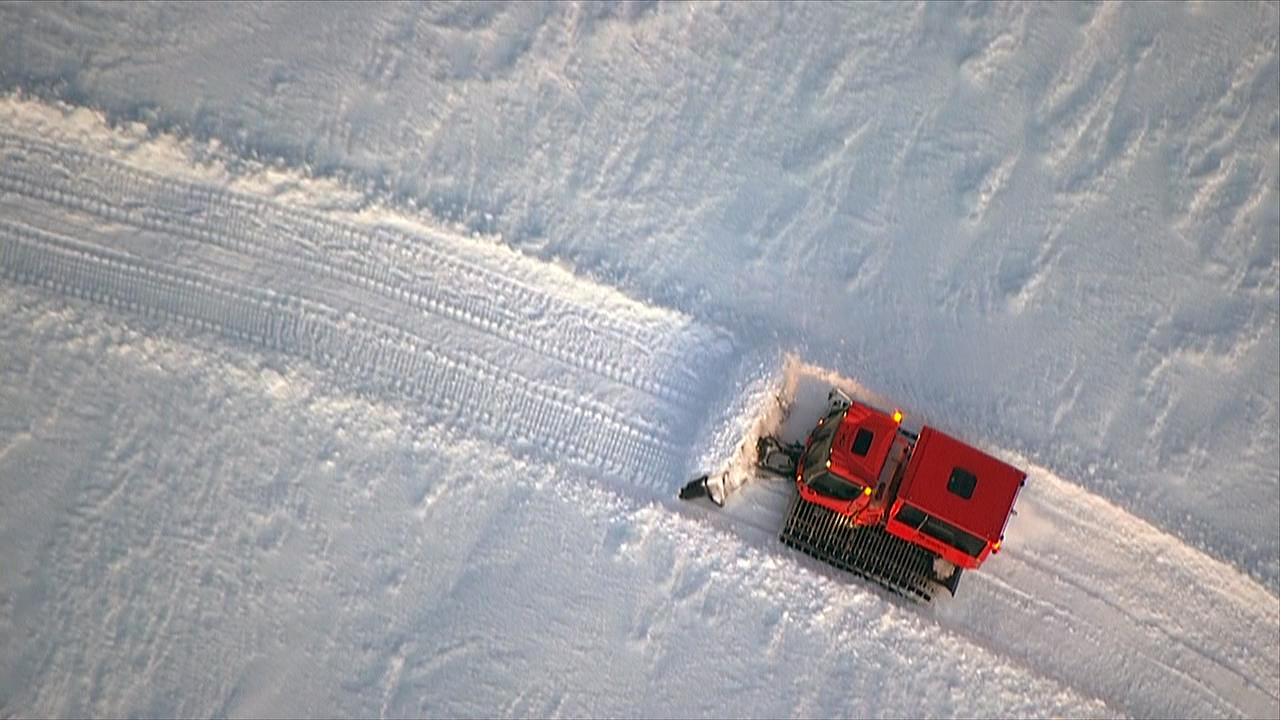 A snowcat makes its way up Mount Hood during an effort to rescue stranded climbers Tuesday, Feb. 13, 2018. (KATU Photo/Chopper 2)