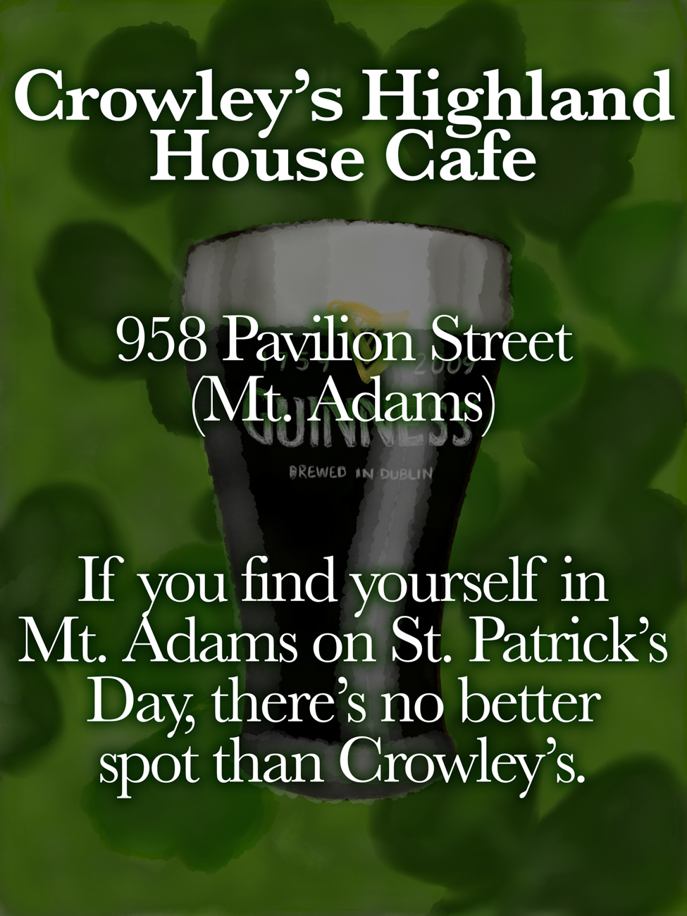 Crowley's Highland House Cafe / ADDRESS: 958 Pavilion Street (Mt. Adams) // Published: 3.16.19