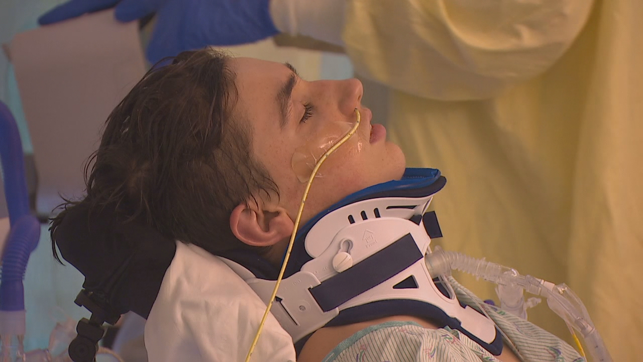 Timmy Brodigan is in ICU three weeks after the Amtrak derailment. He still needs a ventilator to breath and is mostly paralyzed. He can only move his right arm. He has no movement of his diaphragm and has a collapsed lung. And he remains grateful for those who saved his life and continue to help him. (Photo: KOMO News)