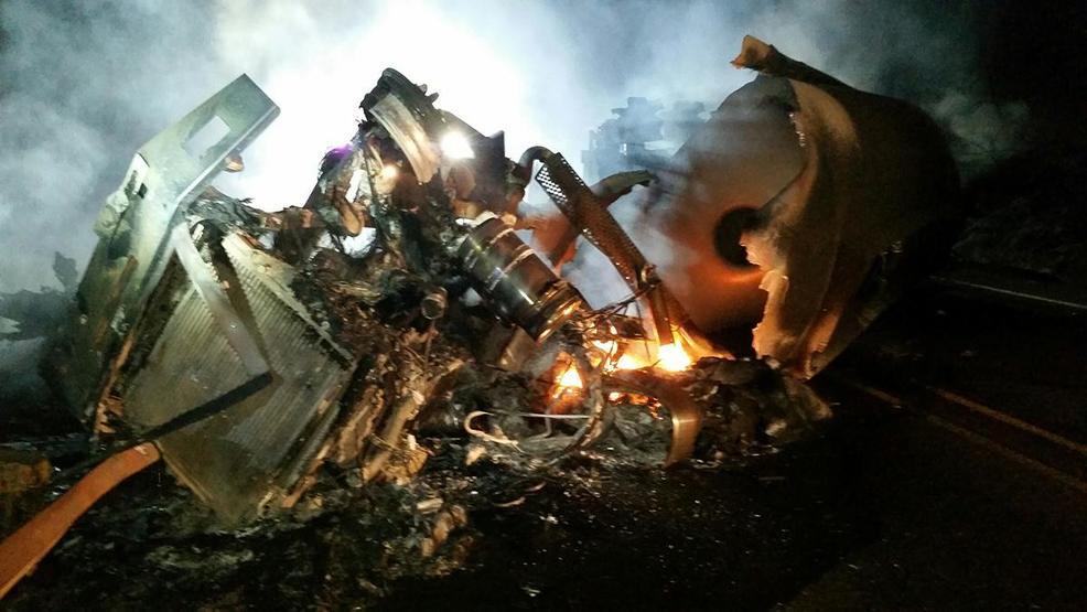 Driver dies in tanker truck crash, fuel spills into Oregon river
