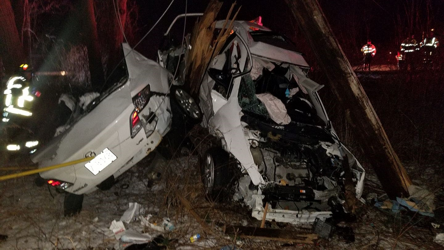 A car was destroyed in a crash in Avon, Mass., Friday, Jan. 19, 2018. (Avon Fire Department Photo)<p></p>