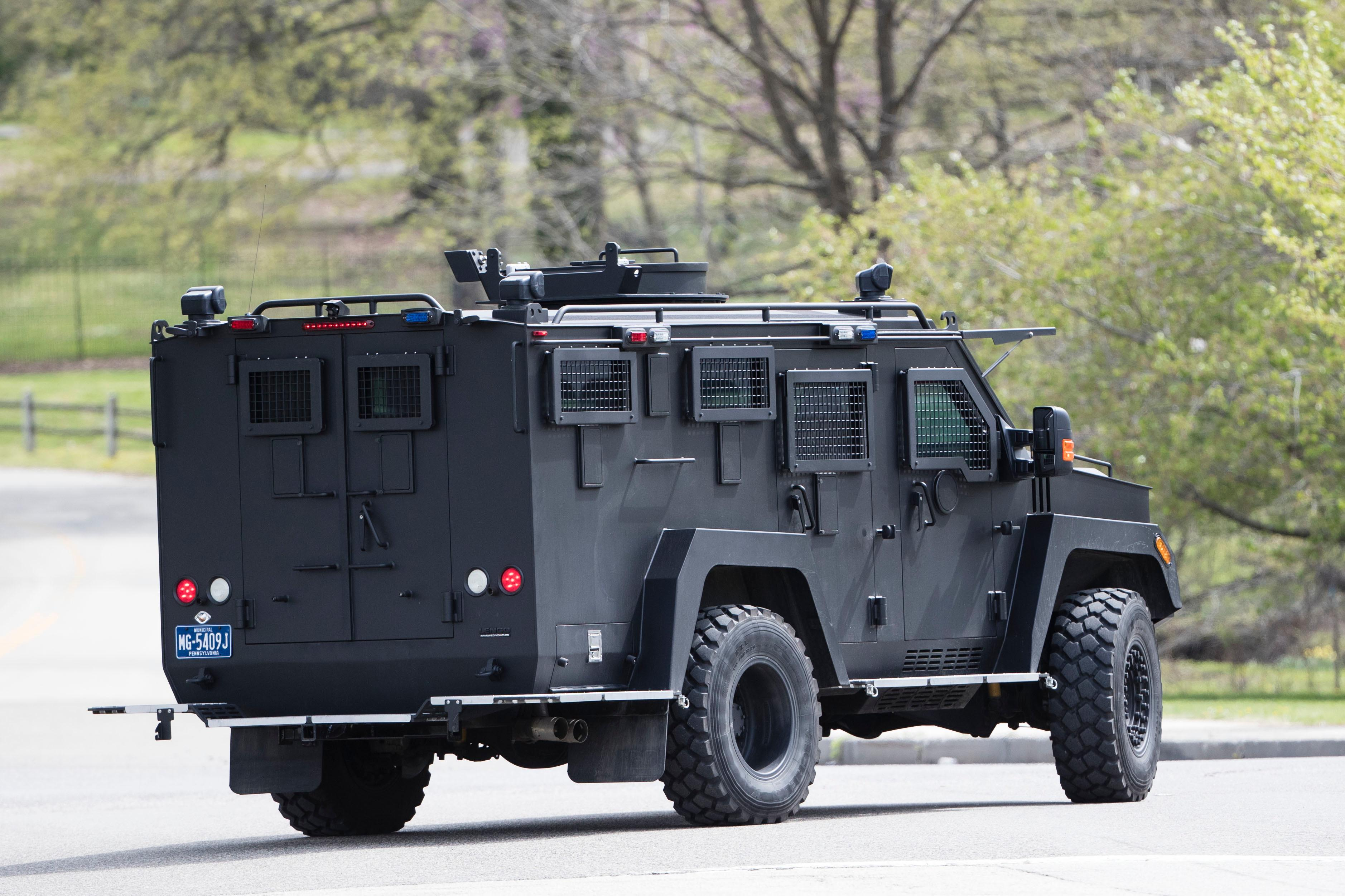 "An armor police vehicle drives through Fairmount park in Philadelphia, Monday, April 17, 2017. Authorities in several states are on the lookout for a man police say shot a Cleveland retiree collecting aluminum cans and then posted video of the apparently random killing on Facebook. The suspect is identified as Steve Stephens, a 37-year-old job counselor. Police in Philadelphia say they have ""no indication"" that the suspect in an apparently random killing in Cleveland is in Philadelphia. (AP Photo/Matt Rourke)"