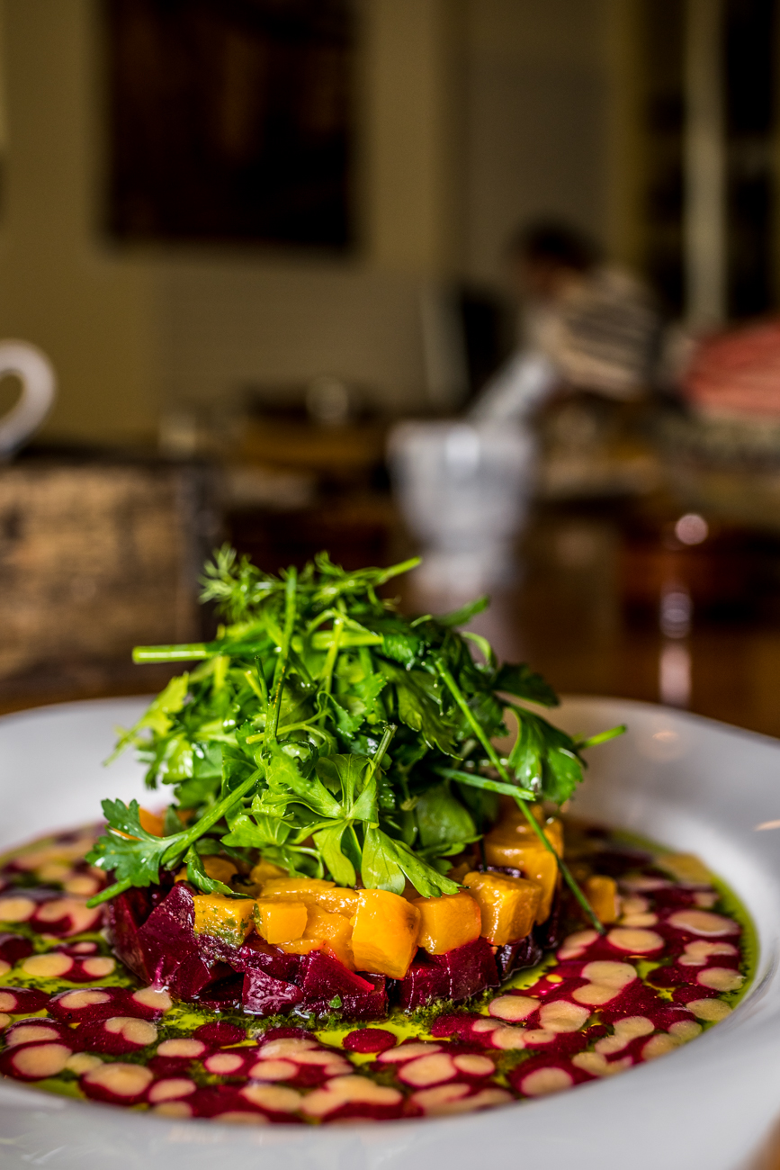 Roasted Beet Salad: Danish Bleu, herb salad, almonds, beet vinaigrette / Image: Catherine Viox{ }// Published: 1.23.20