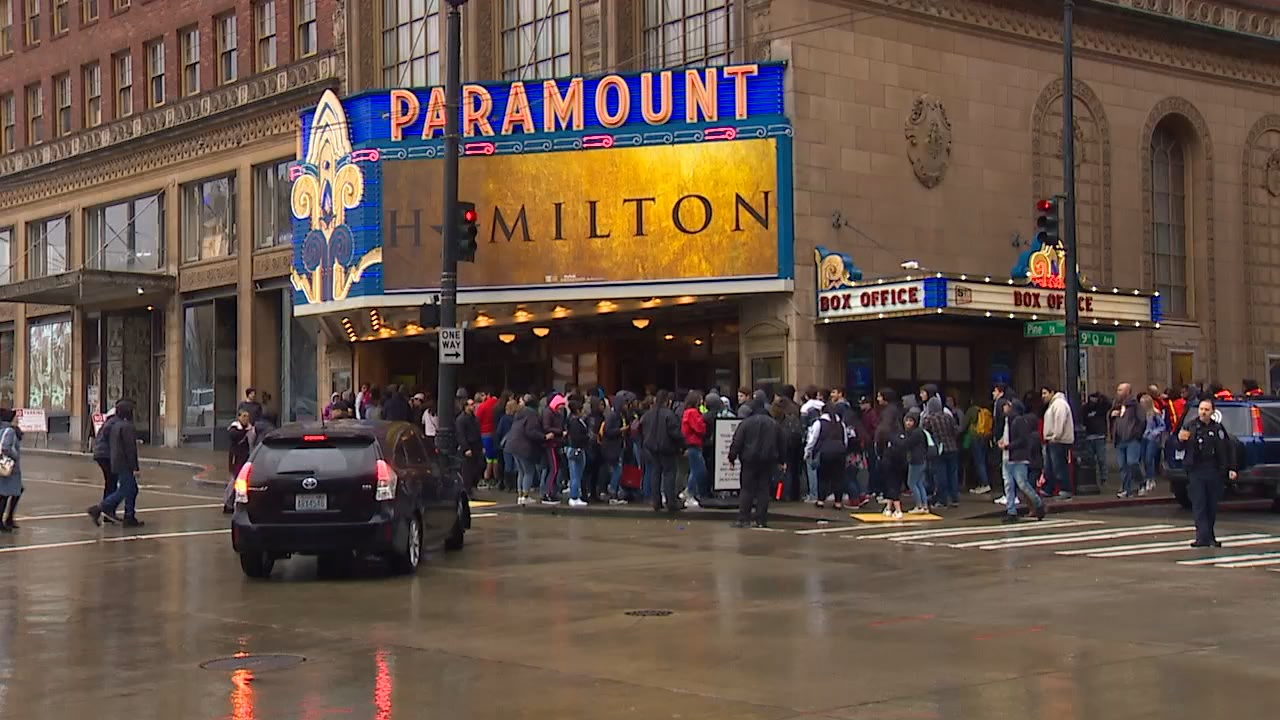 "Thousands of students from across the region watched a private showing of ""Hamilton"" at the Paramount Theater on Thursday. It was part of The Hamilton Education Program, which takes the musical inside classrooms, integrating a unique curriculum on Alexander Hamilton and the nation's Founding Fathers. (Photo: KOMO News)"