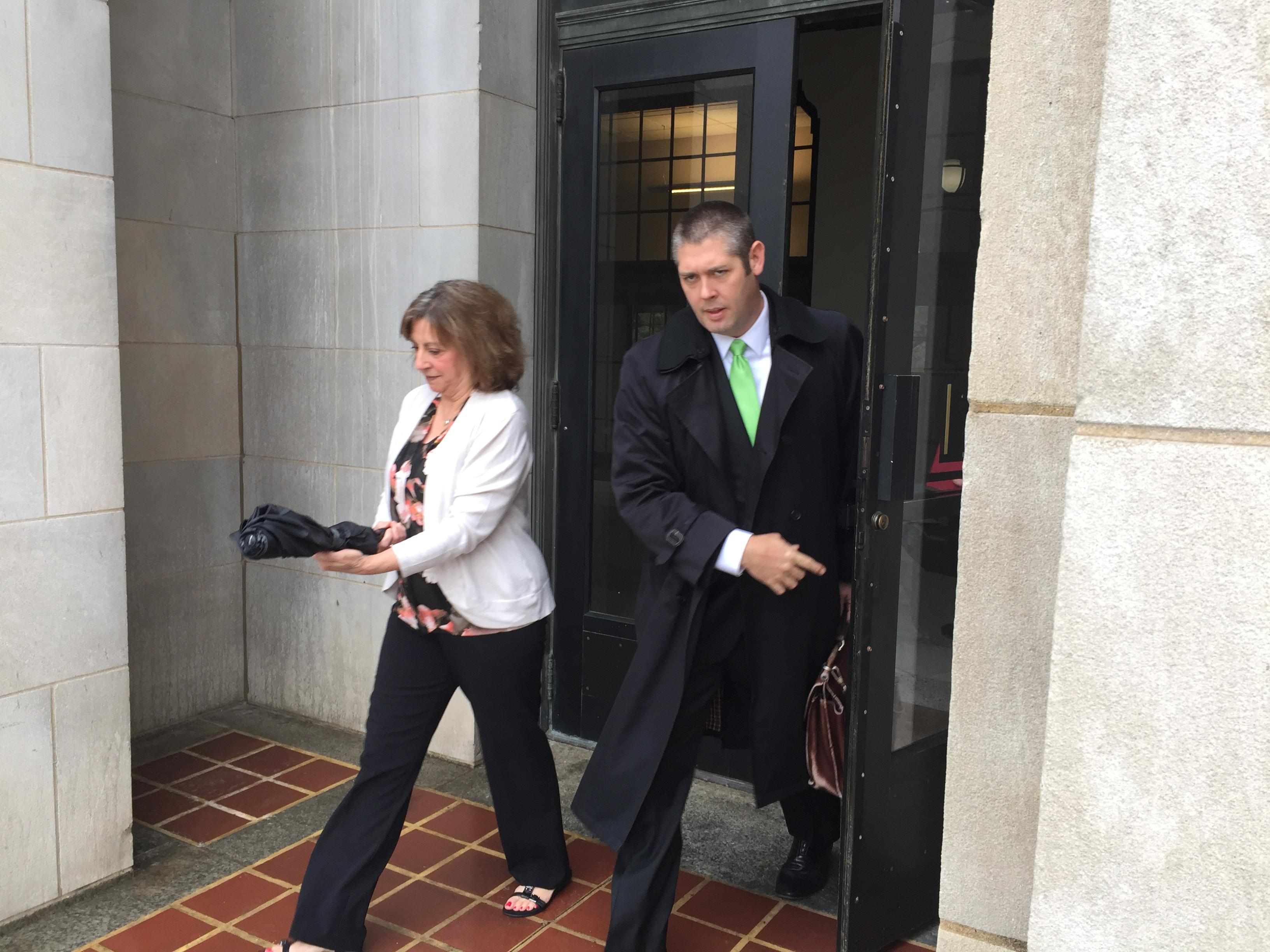 Wanda Greene exiting federal court on Monday, April 23, 2018.{ } (Photo credit: WLOS Staff)