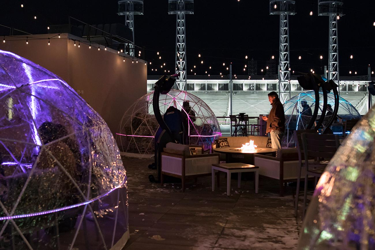The AC Upper Deck is the only rooftop bar in Cincinnati that's open this winter thanks to four neon-lit, heated igloos. The temperature-controlled structures allow you and seven friends to comfortably enjoy light appetizers, cocktails, and warm drinks with a view no matter how cold it is outside. A communal fire pit and electric heaters keep non-iglooers toasty, as well. Igloos can be reserved and are available for rent from 5 PM-12 AM nightly. ADDRESS: 135 Joe Nuxhall Way (45202) / Image: Allison McAdams // Published: 12.17.18