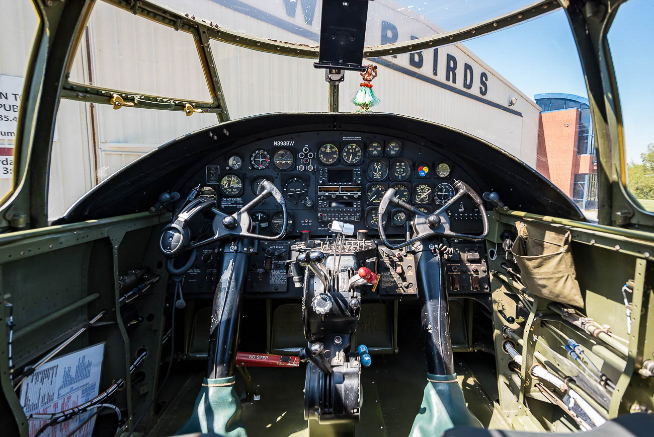 "Inside the cockpit of the B-25 when it was known as ""Axis Nightmare,"" before being transformed into ""Yankee Doodle"" / Image: Phil Armstrong, Cincinnati Refined // Published: 10.15.19"
