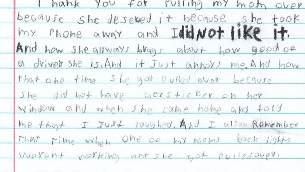 Elementary student pens hilarious thank you letter to police for elementary student pens hilarious thank you letter to police for pulling over his mom expocarfo Images