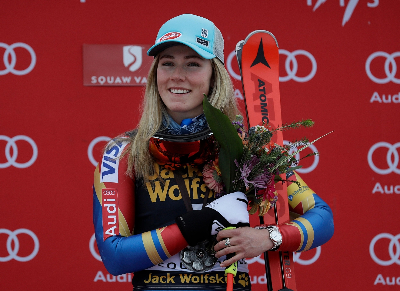 Mikaela Shiffrin smiles after winning the women's World Cup giant slalom competition Friday, March 10, 2017, in Olympic Valley, Calif. (AP Photo/Marcio Jose Sanchez)