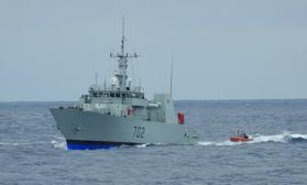 A Coast Guard Cutter Thetis small boat crew conducts personnel and contraband transfers with the Royal Canadian Navy's HMCS Nanaimo during a 68-day Eastern Pacific counter drug patrol in 2017. The cutter Thetis crew worked alongside the Pacific Tactical Law Enforcement Team, an aviation detachment from the Helicopter Interdiction Tactical Squadron and a Royal Canadian Navy maritime coastal defense vessel in support of Operation Martillo seizing 6,755 kilograms of cocaine and 14 pounds of marijuana during eight separate interdictions that resulted in the apprehension of 24 suspected smugglers. (Coast Guard photo)